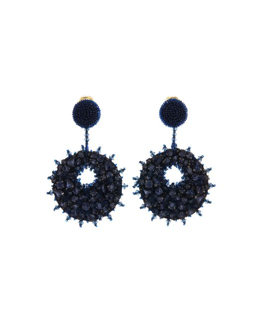 Oscar de la Renta - Blue Bold Disk Crystal Earrings - Lyst
