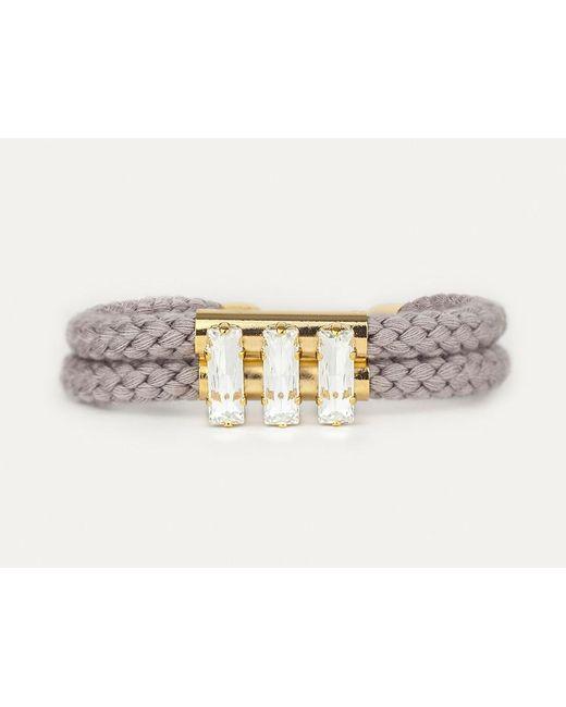 Sabrina Dehoff | Gray Double Cord Grey Bracelet With Triple Rectangular Swarovski Stones | Lyst