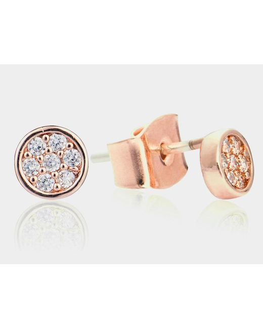 Astrid & Miyu | Metallic Rosy Studded Delight Earrings | Lyst