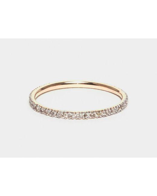 i+i | Metallic Gold Band Ring With White Diamonds | Lyst