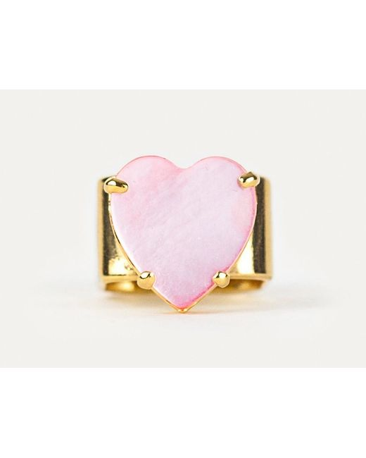 Lumo | Pink Chunky Gold Heart Ring | Lyst
