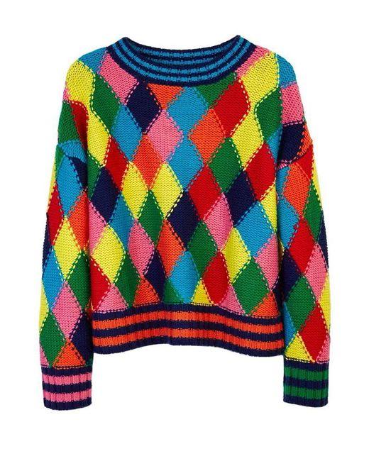 MIRA MIKATI | Multicolor Diamond Stitch Hand Knit Sweater Multi | Lyst