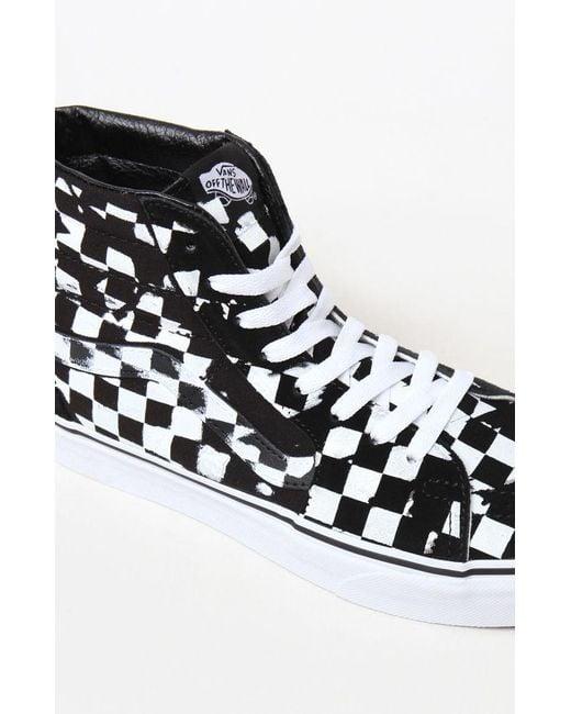 e1c4382e490e Lyst - Vans Overprint Check Sk8-hi Shoes in Black for Men - Save 30%