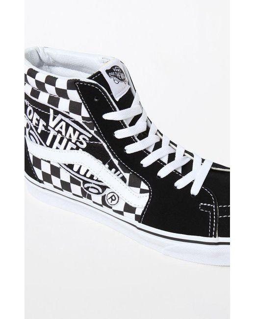 9cf3d88cb0 Lyst - Vans Patch Sk8-hi Black   White Shoes in Black for Men
