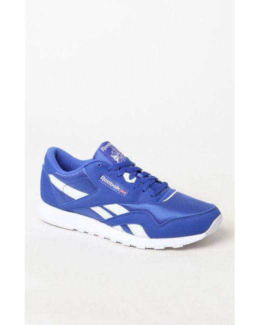11acad5567f Lyst - Reebok Classic Leather   Nylon Blue Shoes in Blue for Men