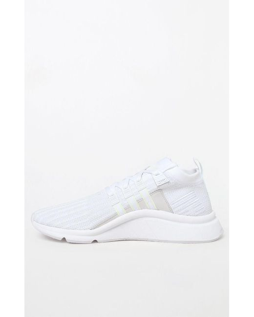 detailed look ca3d8 3347c ... coupon for adidas eqt support mid adv primeknit white shoes for men lyst  ca6b4 333b5