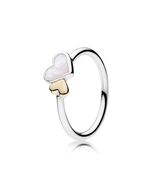 Pandora   Metallic Luminous Hearts Ring   Lyst