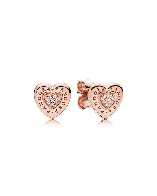 Pandora - Pink Rose Logo Heart Stud Earrings - Lyst
