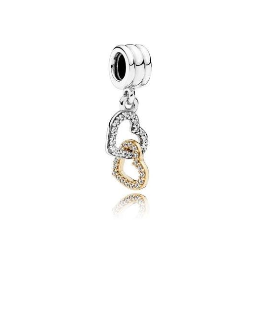Pandora   Metallic Interlocked Hearts Pendant Charm   Lyst