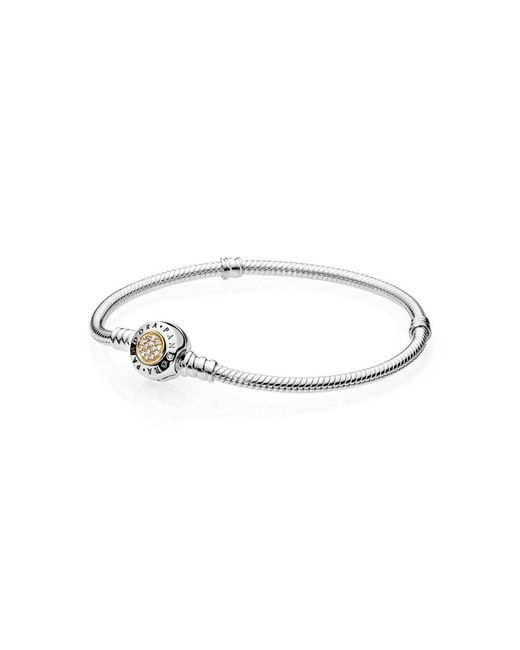 Pandora - Metallic Moments Two Tone Bracelet With Signature Clasp - Lyst