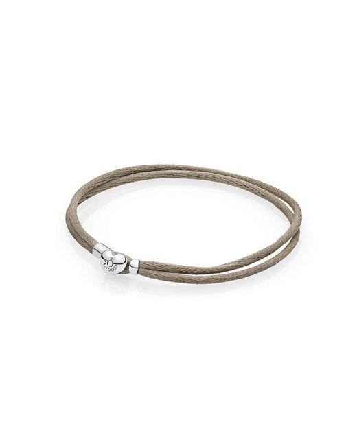 Pandora | Metallic Moments Fabric Cord Bracelet, Grey Green | Lyst