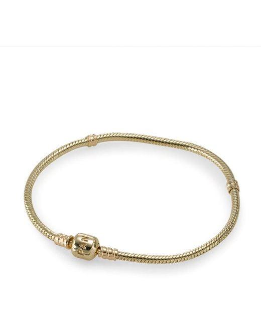Pandora - Metallic Moments Gold Clasp Bracelet - Lyst