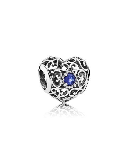 Pandora - Blue September Signature Heart Birthstone Charm - Lyst