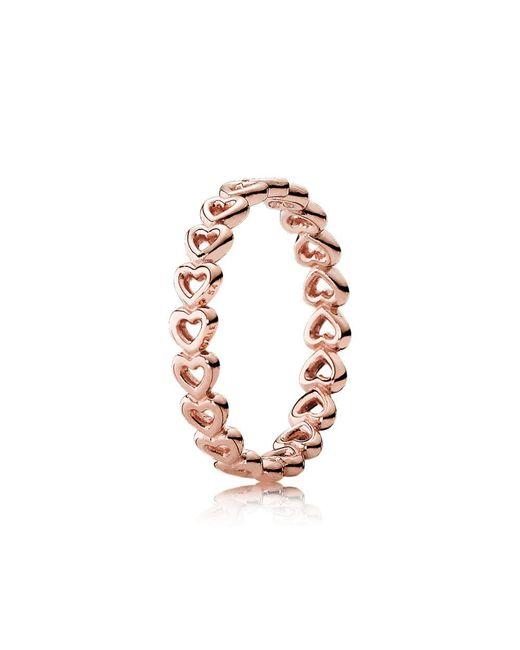 Pandora - Metallic Linked Love Ring - Lyst