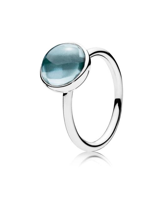 Pandora - Aqua Blue Poetic Droplet Ring - Lyst