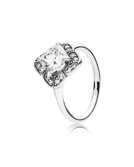 Pandora | Metallic Crystallised Floral Fancy Ring | Lyst
