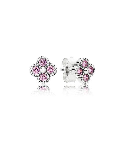 Pandora   Multicolor Pink Oriental Blossom Stud Earrings   Lyst