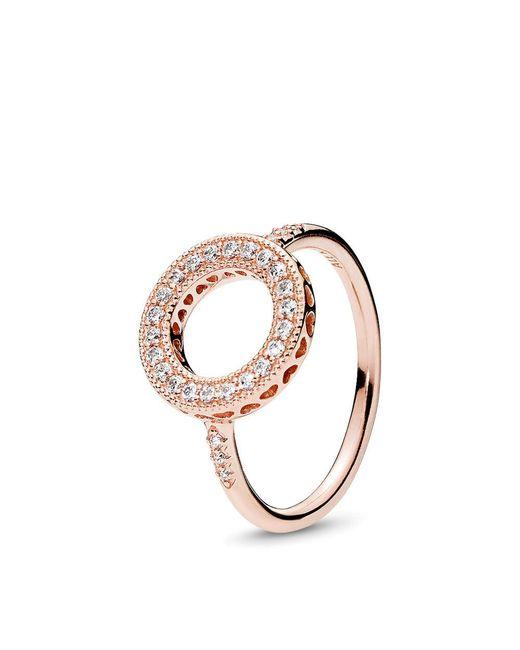 Pandora - Metallic Hearts Of Halo Ring - Lyst