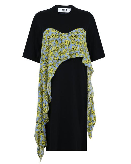 MSGM   Printed Ruffle T-shirt Dress Black   Lyst
