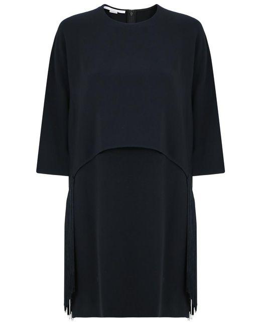 Stella McCartney   Georgia Fringing Cape Dress Black   Lyst
