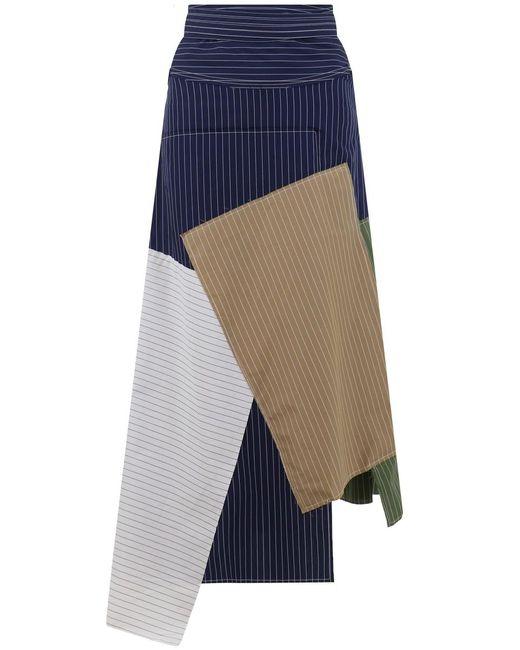 J.W. Anderson - Blue Patchwork Asymmetric Skirt Navy - Lyst