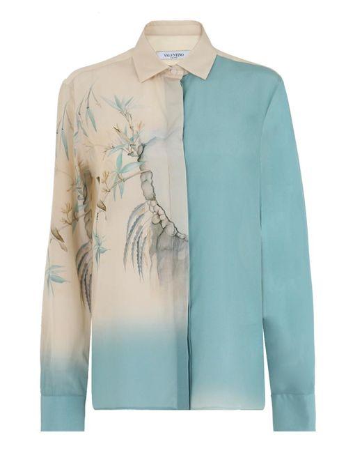 Valentino - Silk Shirt Ethereal Bird Print Blue/cream - Lyst