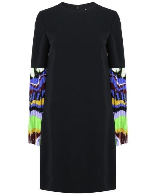 Emilio Pucci - Fringe Sleeve Shift Dress Black - Lyst