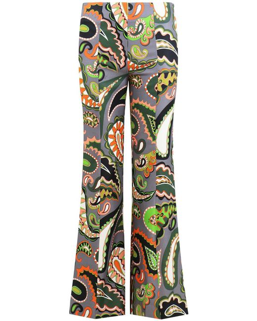 Emilio Pucci - Gray Paisley Print Flared Pants Grey/green - Lyst