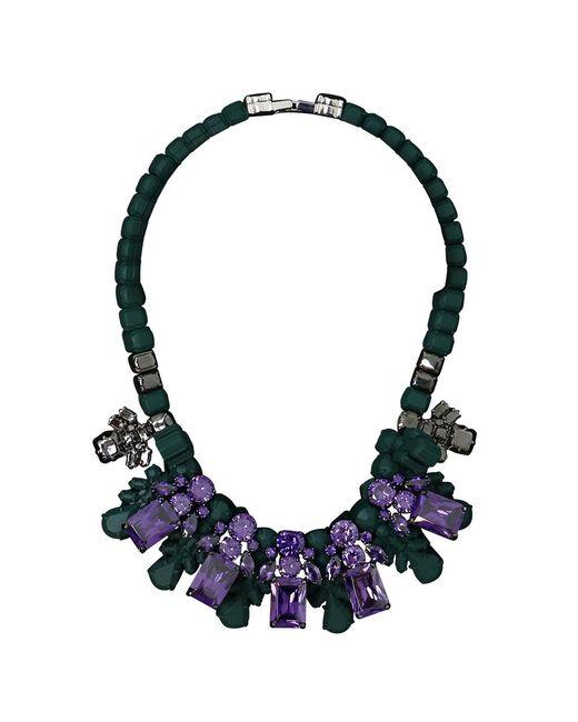 EK Thongprasert | Silicone Five Jewel & Metal Neckpiece Dark Green/amethyst Crystals | Lyst