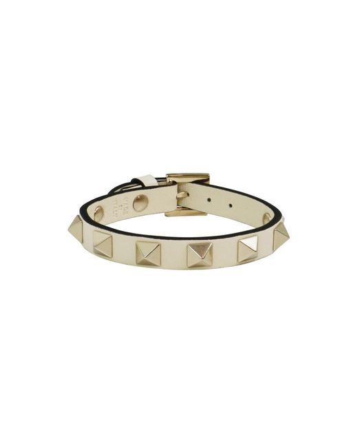 Valentino | White Rockstud Leather Cuff Light Ivory | Lyst