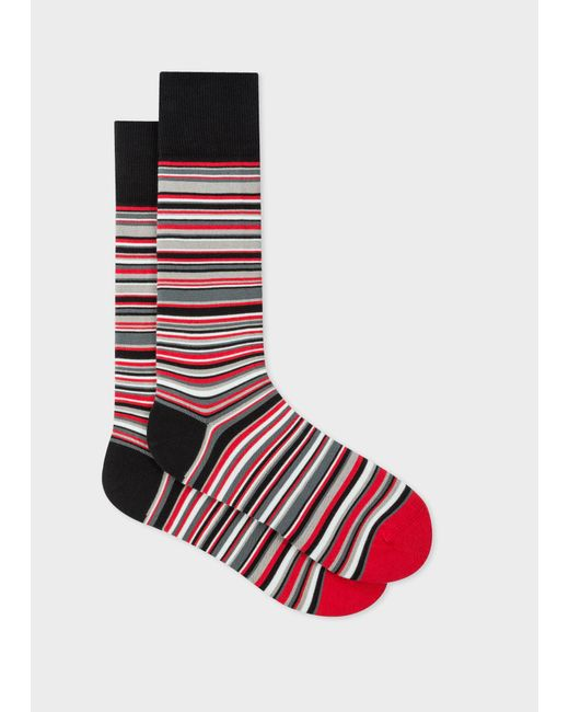 Paul Smith & Manchester United - Red Narrow Striped Socks for men
