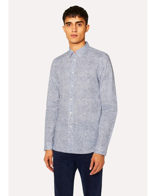 610f7349994422 Paul Smith - Slim-Fit White  Painted Scribble  Print Stretch-Cotton Shirt  ...