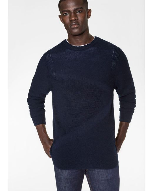 Paul Smith   Blue Men's Navy Textured Stripe Wool Sweater for Men   Lyst