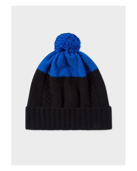 Paul Smith - Black And Blue Cable-Knit Beanie Hat for Men - Lyst