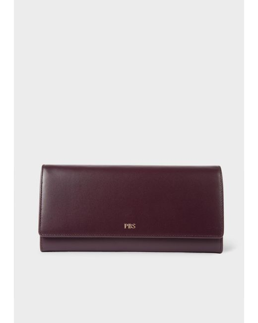 Paul Smith - Purple Women's Damson Leather Monogrammed Tri-fold Purse - Lyst