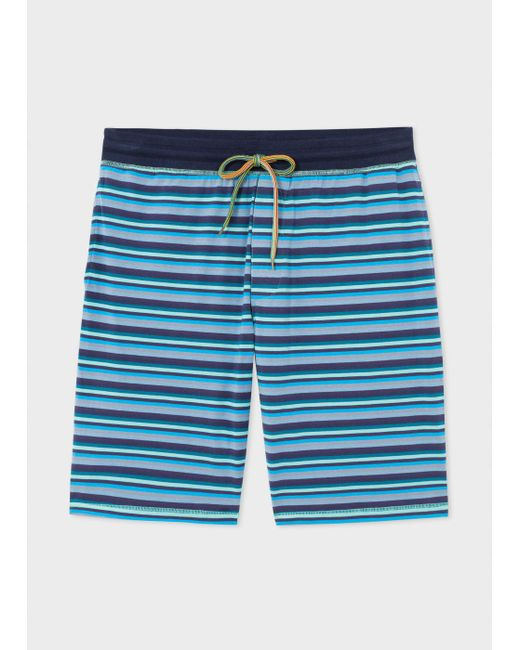 Paul Smith   Men's Blue Stripe Jersey Shorts for Men   Lyst