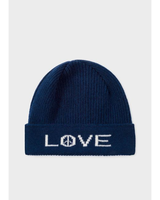 Paul Smith - Blue Navy 'Peace And Love' Wool Beanie Hat for Men - Lyst