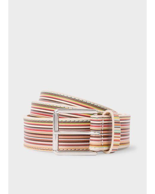 Paul Smith   Multicolor Men's Embossed Signature Stripe Leather Belt   Lyst