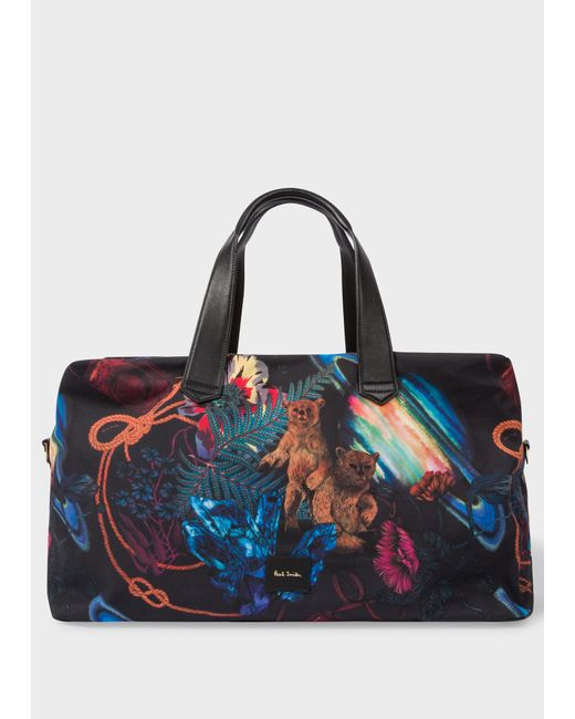 4c9041c0cc0 Paul Smith - Blue  explorer  Print Canvas Weekend Bag for Men - Lyst ...