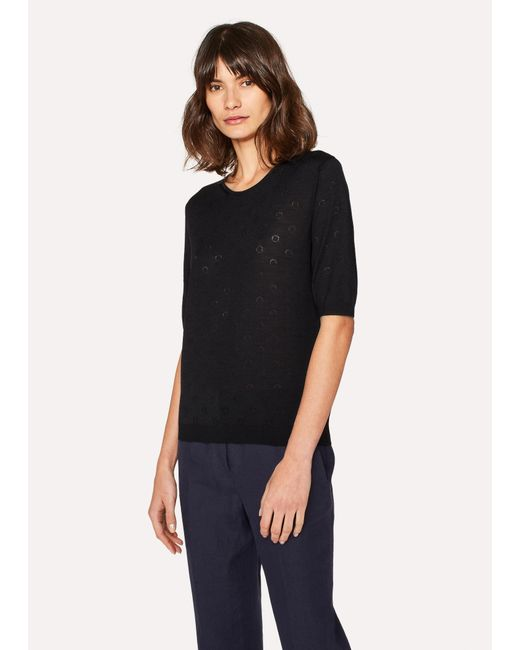 Paul Smith - Black Merino Wool And Silk-Blend Knitted T-Shirt - Lyst