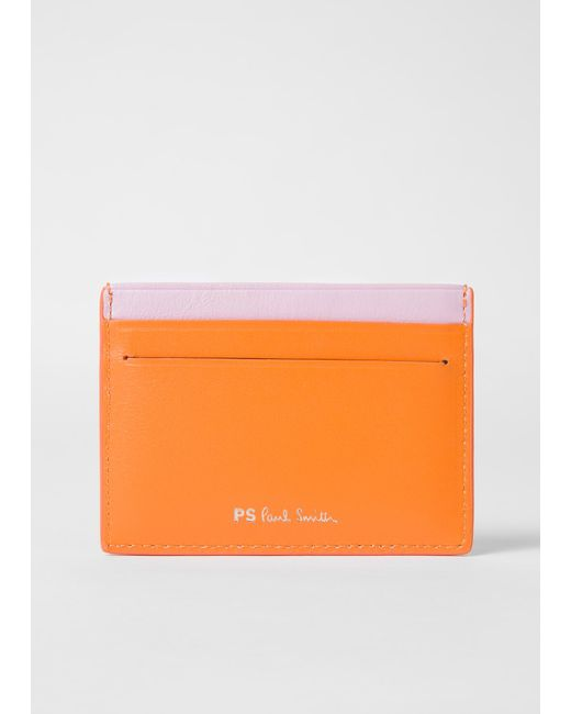 2d451b69e3e Paul Smith Orange 'cheetah' Motif Leather Credit Card Holder in ...