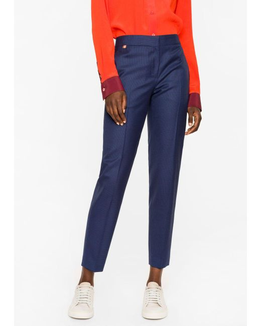 Paul Smith | Blue A Suit To Travel In - Women's Classic-fit Navy Puppytooth Wool Trousers | Lyst