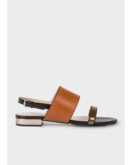 Paul Smith | Brown Women's Tan And Black Leather 'cleo' Sandals | Lyst
