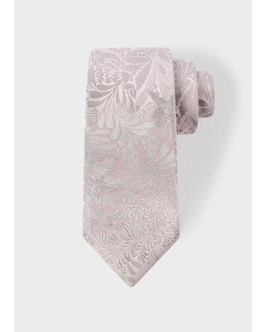 Paul Smith | Men's Light Pink Tonal Floral Embroidery Narrow Silk Tie for Men | Lyst