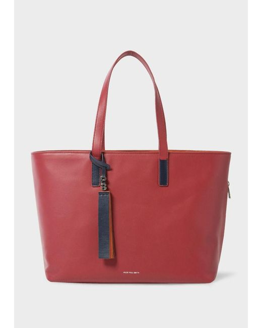 Paul Smith | Women's Raspberry Red Leather Tote Bag | Lyst
