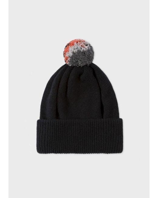 Paul Smith | Men's Black Lambswool Knitted Bobble Hat for Men | Lyst