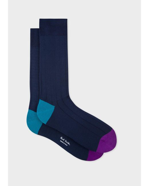 Paul Smith - Blue Navy Cotton-Blend Socks With Contrasting Details for Men - Lyst