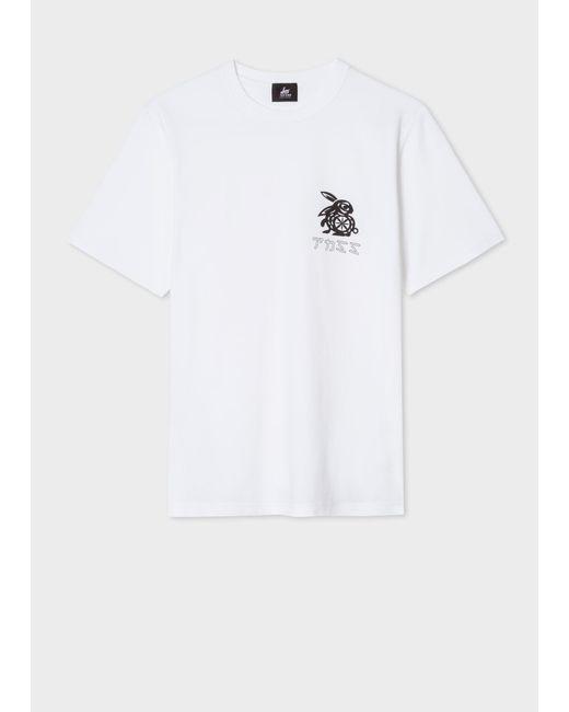 Paul Smith - White Red Ear 'Rabbit Logo' Print T-Shirt for Men - Lyst