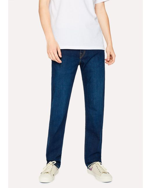 Paul Smith - Blue Tapered-Fit Dark Navy Denim Jeans for Men - Lyst