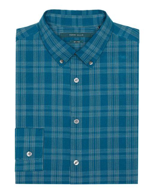 Perry Ellis   Blue Seersucker Check Shirt for Men   Lyst